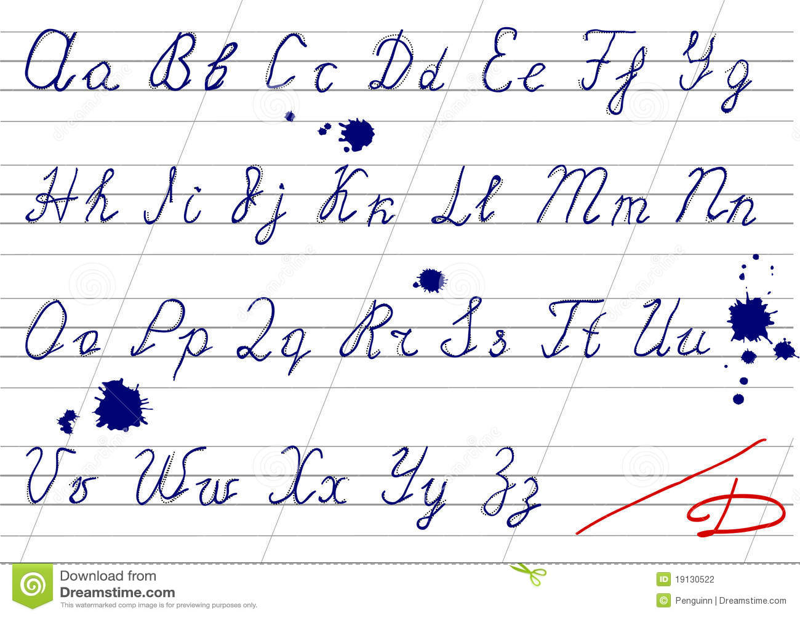 Inaccurate Handwriting Alphabet Stock Vector