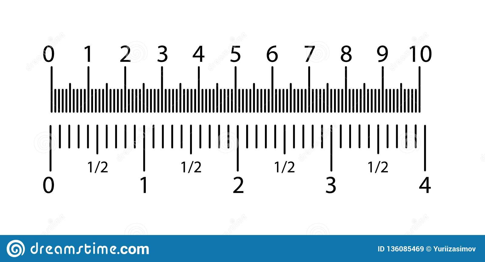 Inch And Metric Rulers Set Centimeters And Inches