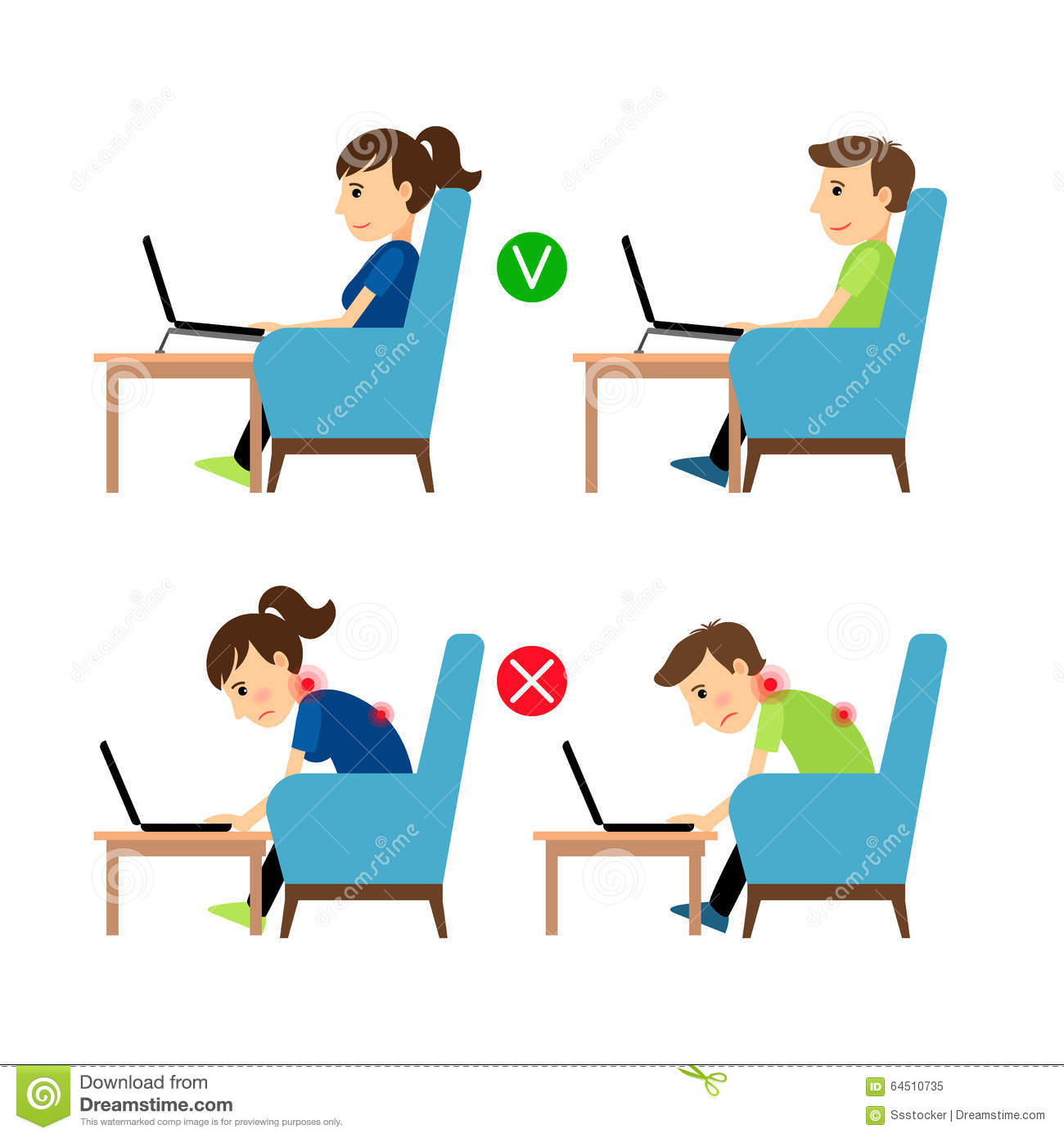 Incorrect And Correct Laptop Use Position Stock Vector