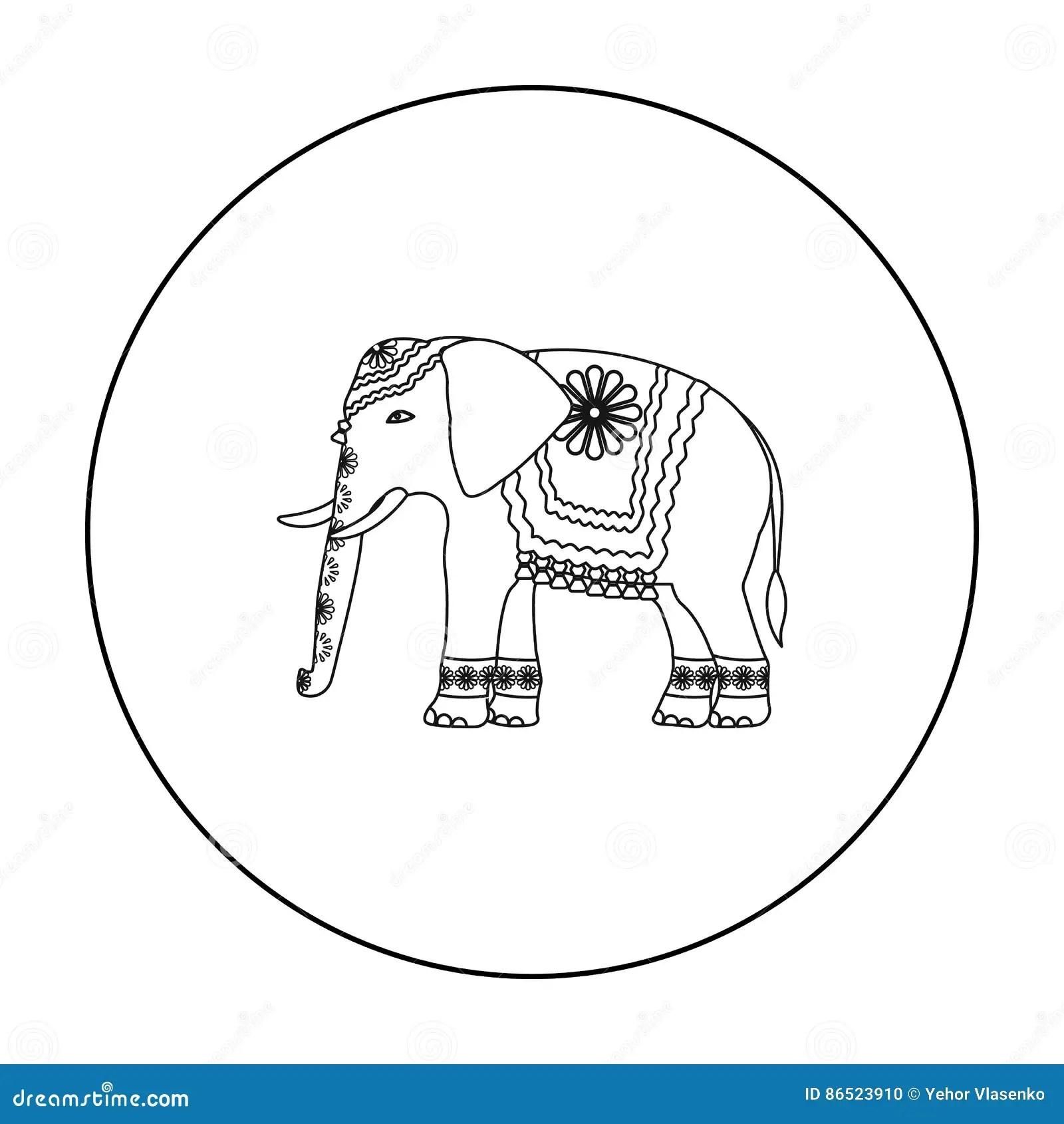 Elephant Outline Peanut Cartoon Vector