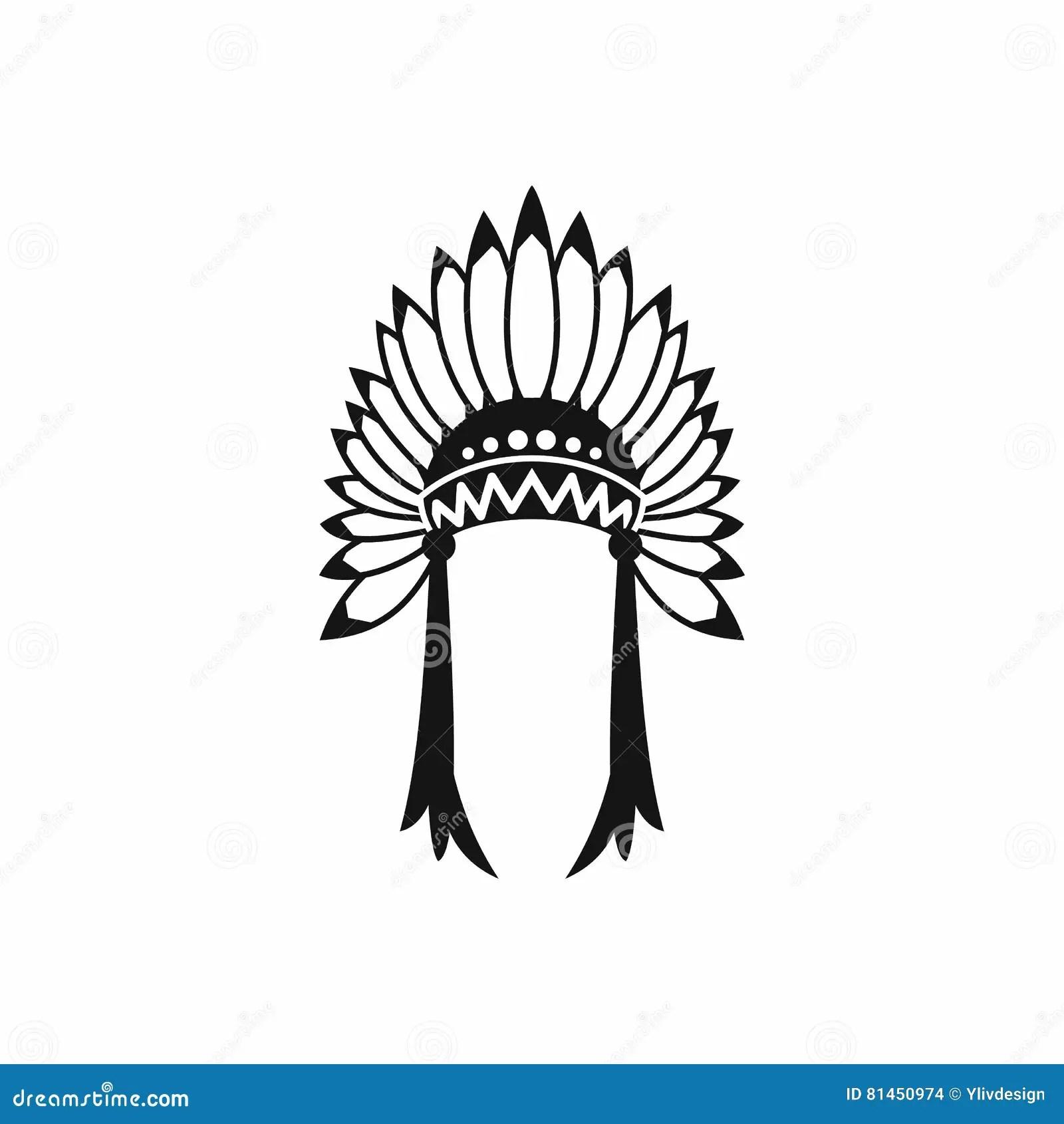 Indian Headdress Icon Simple Style Stock Vector