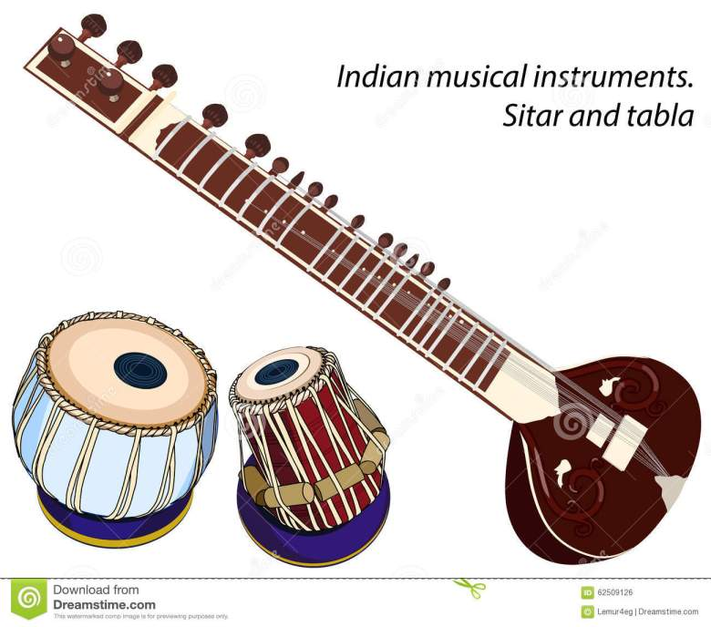 indian musical instruments - sitar and tabla stock vector