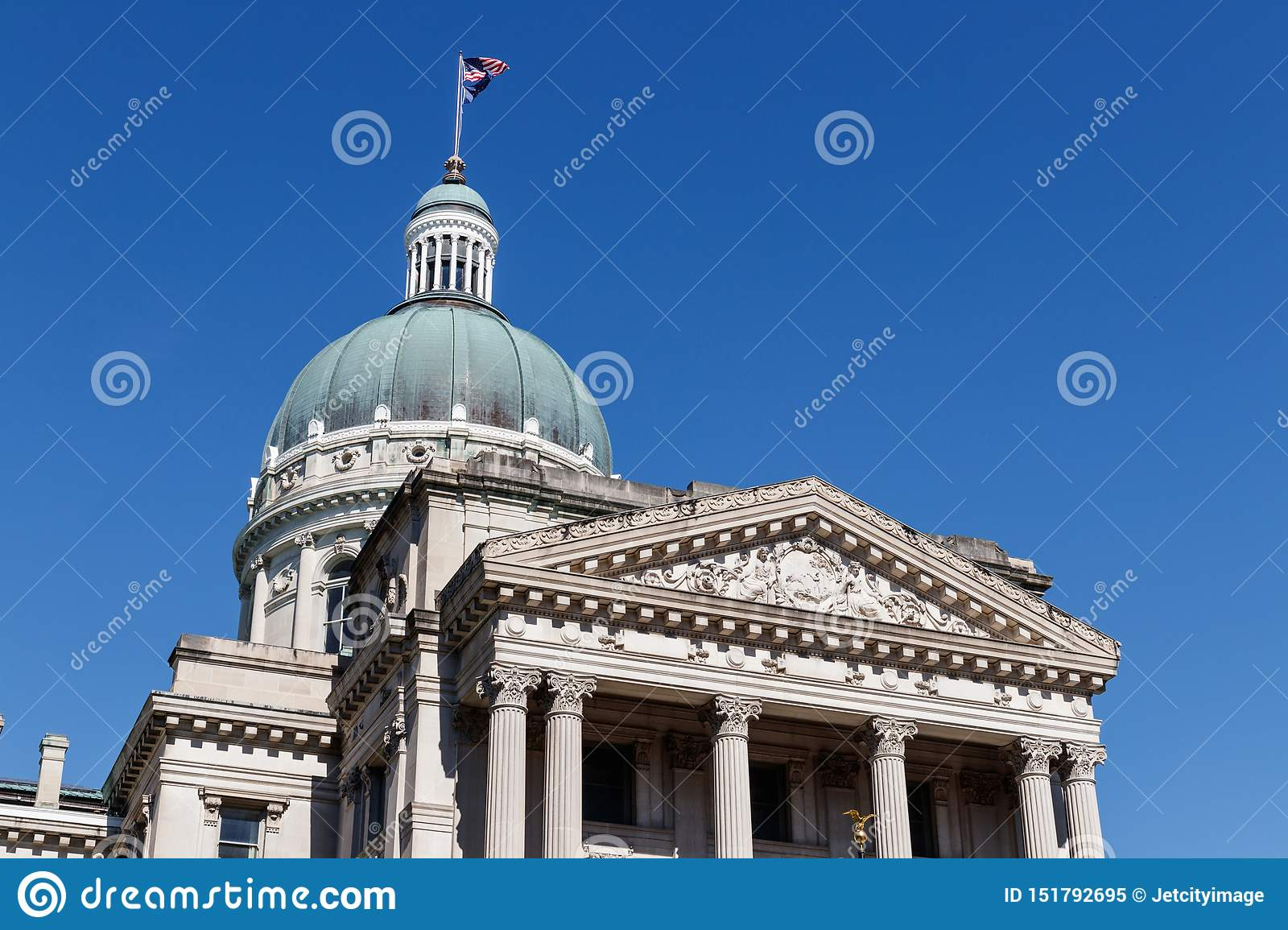Indiana State House And Capitol Dome It Houses The