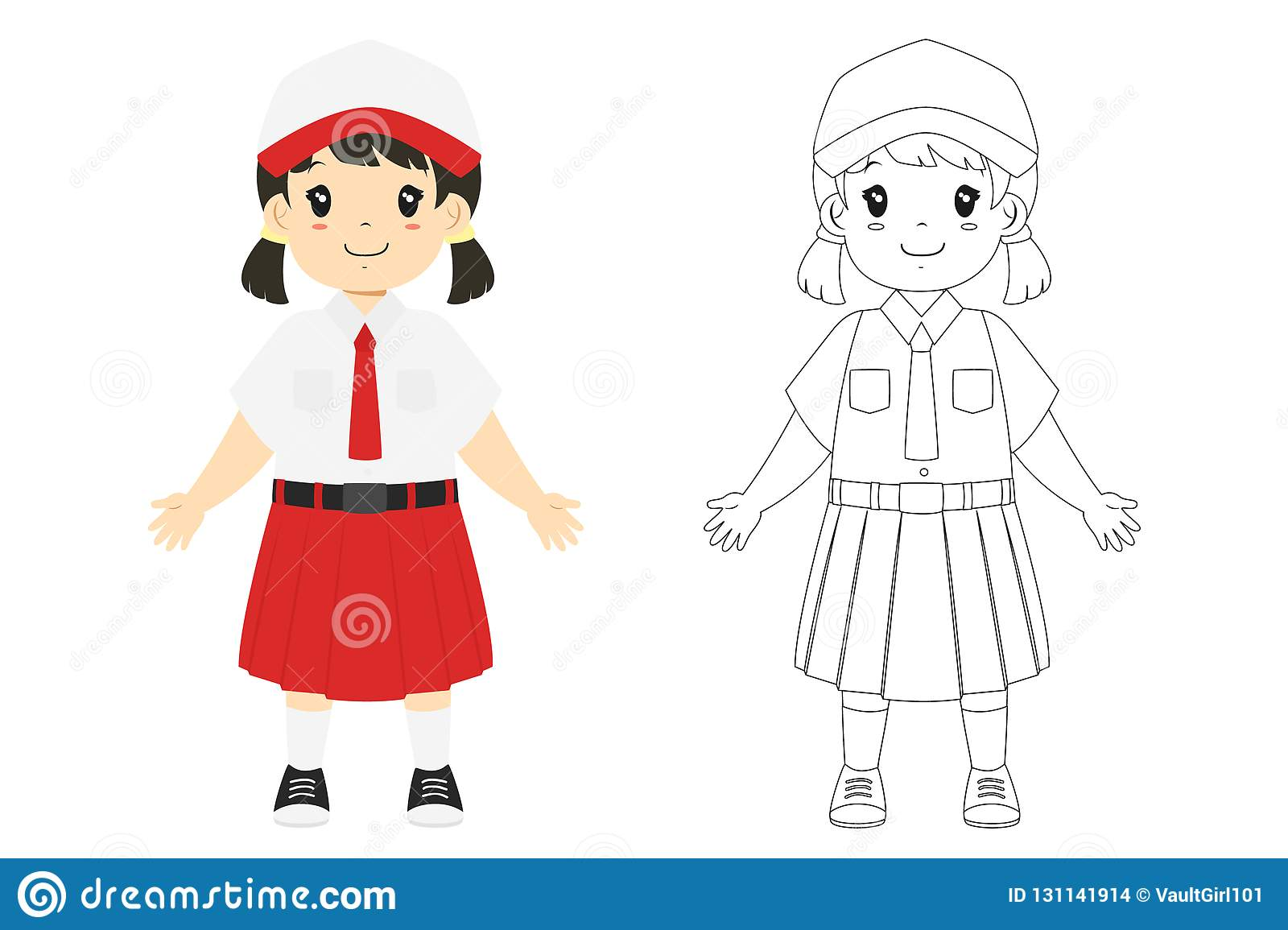 Indonesian Student Coloring Page Vector Template Stock Vector