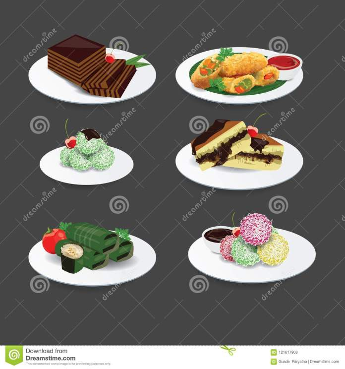 Indonesian Cuisine Traditional Food And Cake Indonesian Food Stock Vector Illustration Of Cuisine Indonesia 121617908