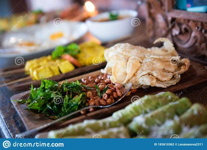 Indonesian Traditional Balinese Food Bali Stock Photo Image Of Green Meal 183610362