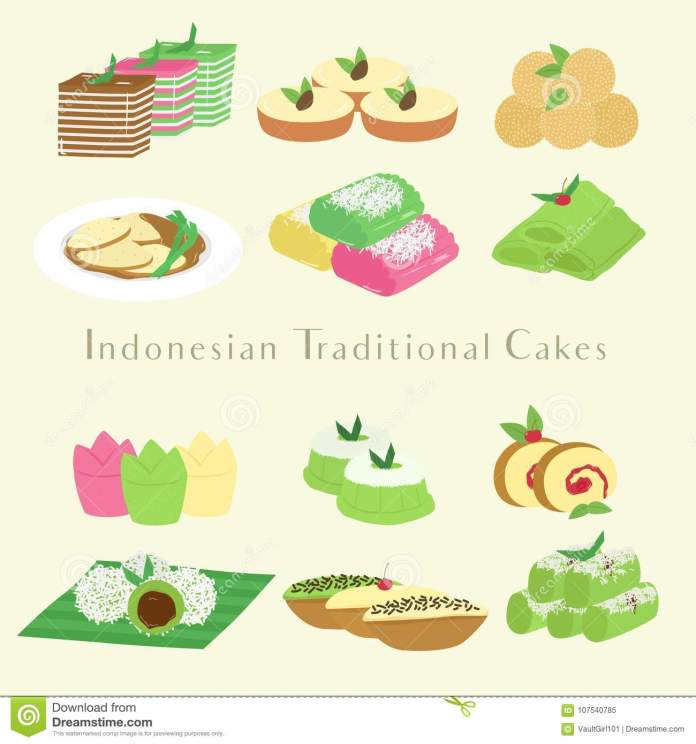 Indonesian Traditional Cakes And Snacks Cartoon Vector Stock Vector Illustration Of Famous Baked 107540785
