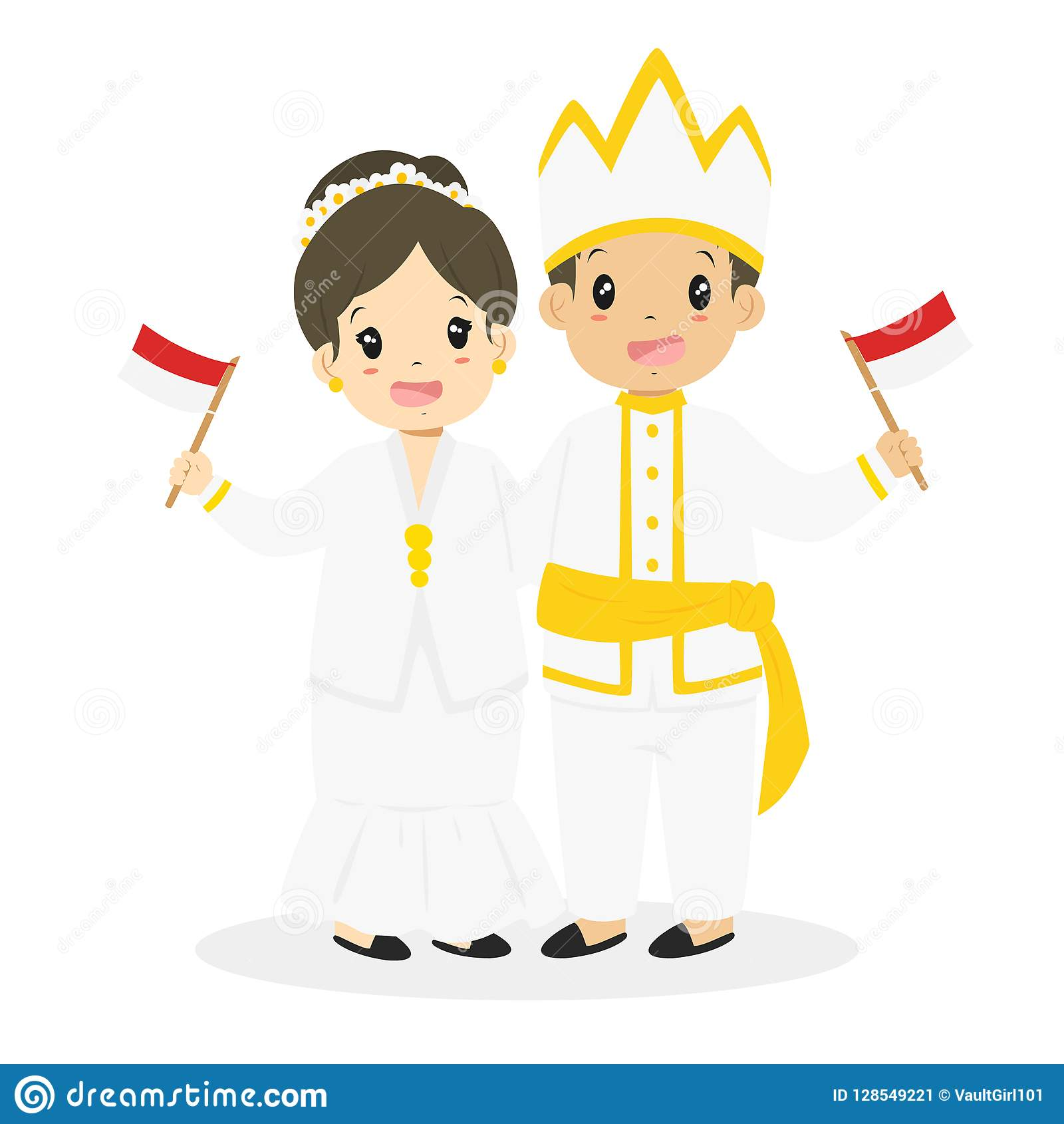 Indonesische Kinder Nord Traditionellen Vektor
