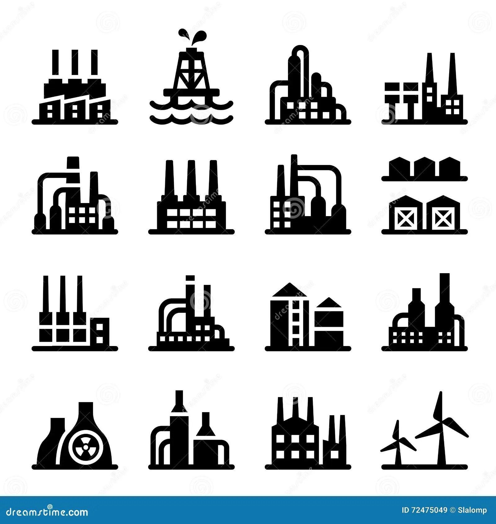 Industrial Building Icon Cartoon Vector
