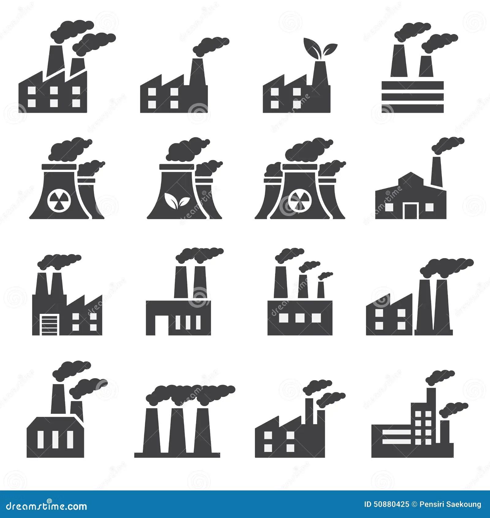 Industrial Building Icon Stock Vector