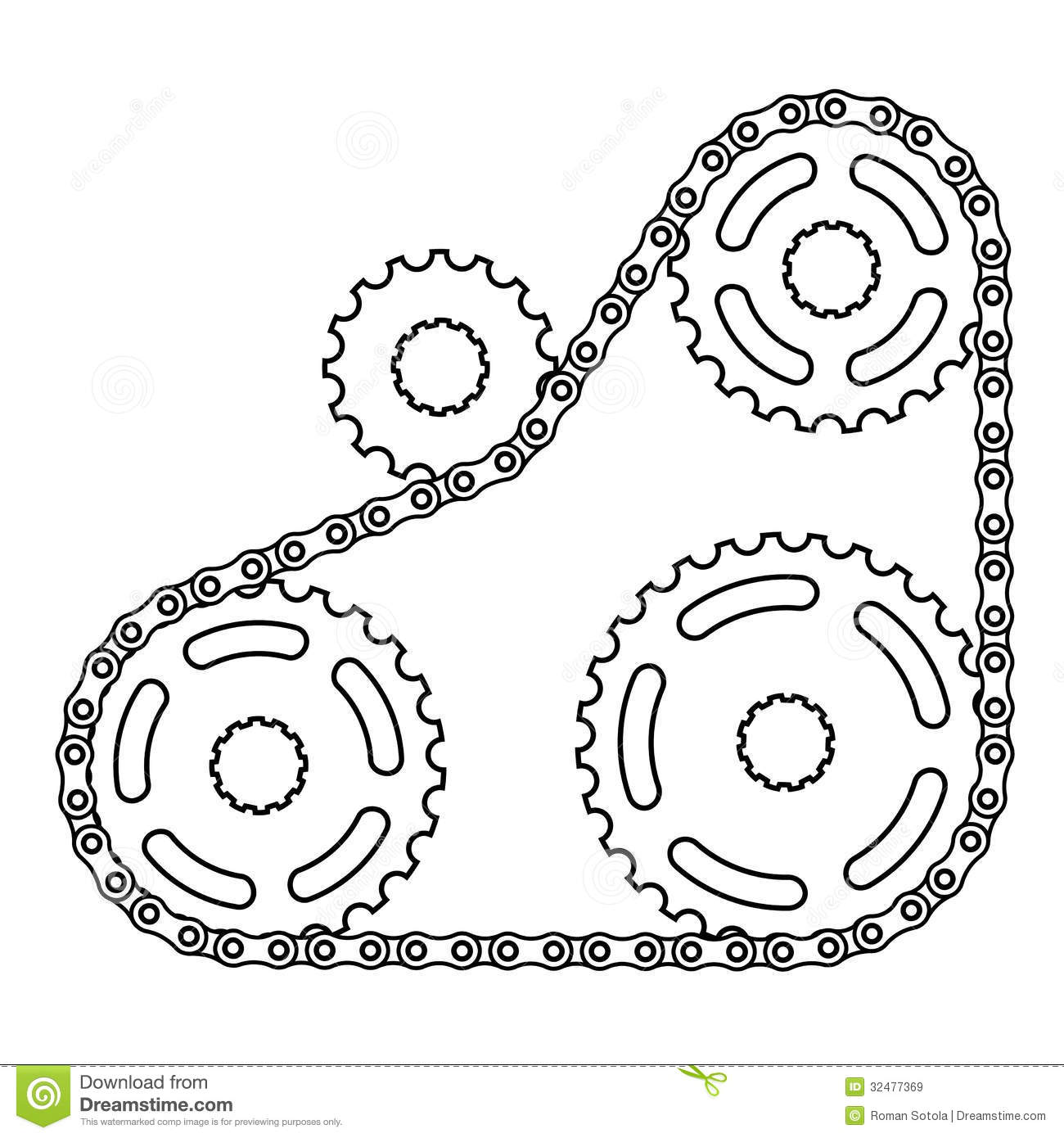 Industrial Chain Sprocket Silhouette Royalty Free Stock