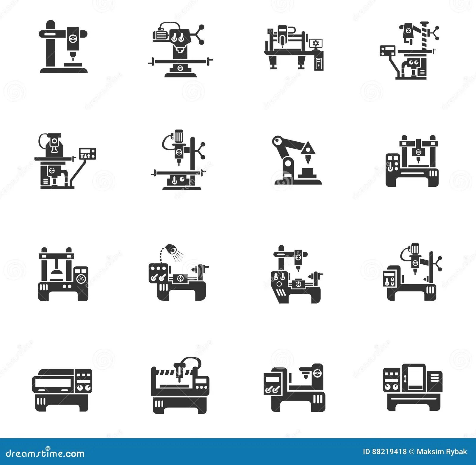 Industrial Equipment Icon Set Vector Illustration