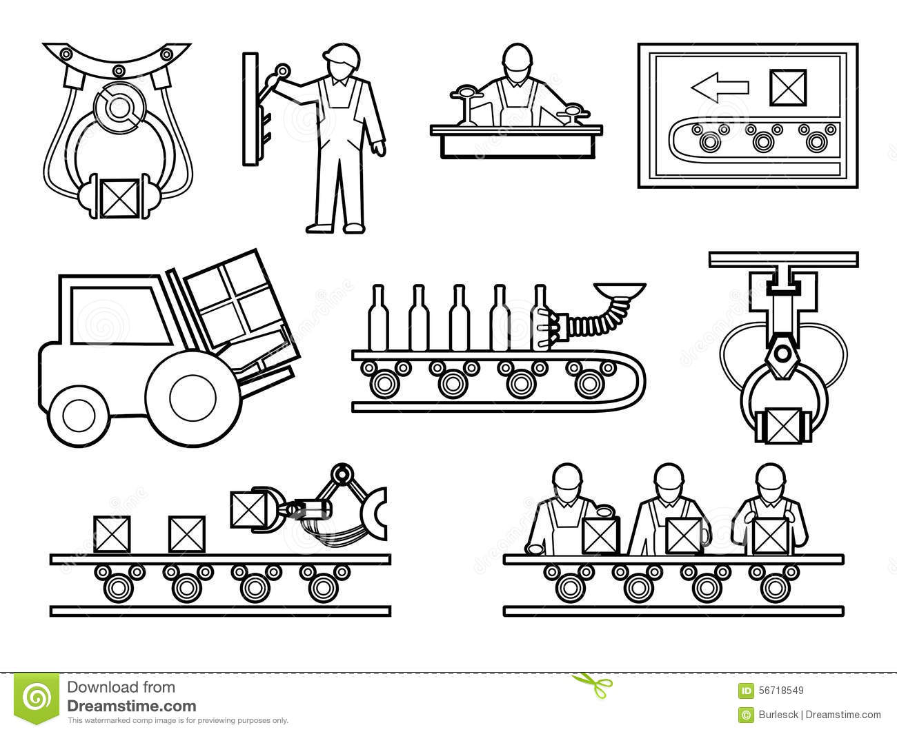 Industrial And Manufacturing Process Icons Set In Stock