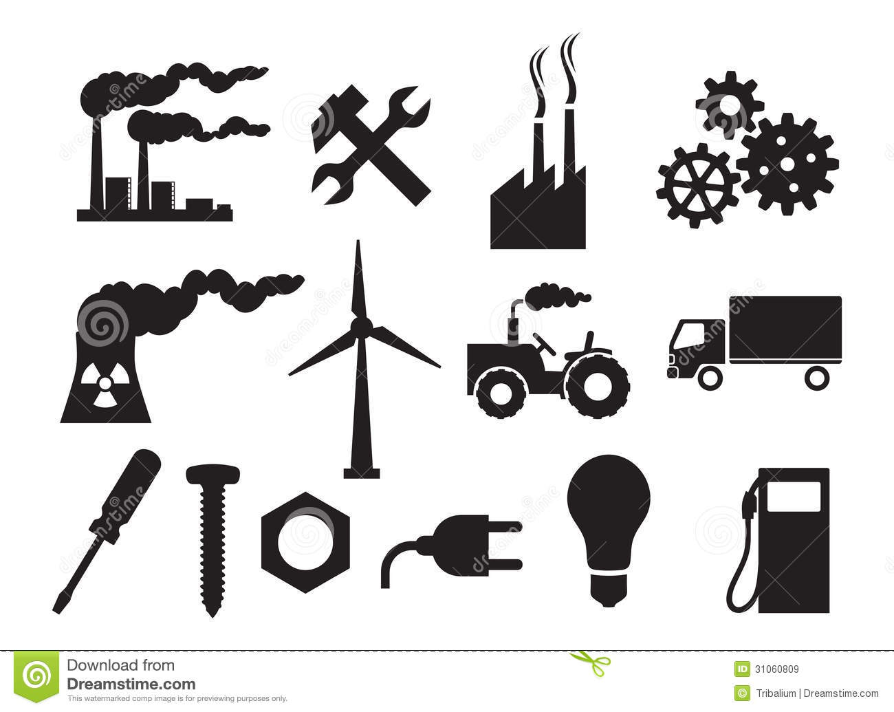 Industry Icons Collection Royalty Free Stock Images