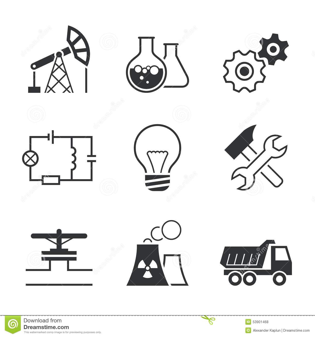 Industry Simple Vector Icon Set Stock Vector