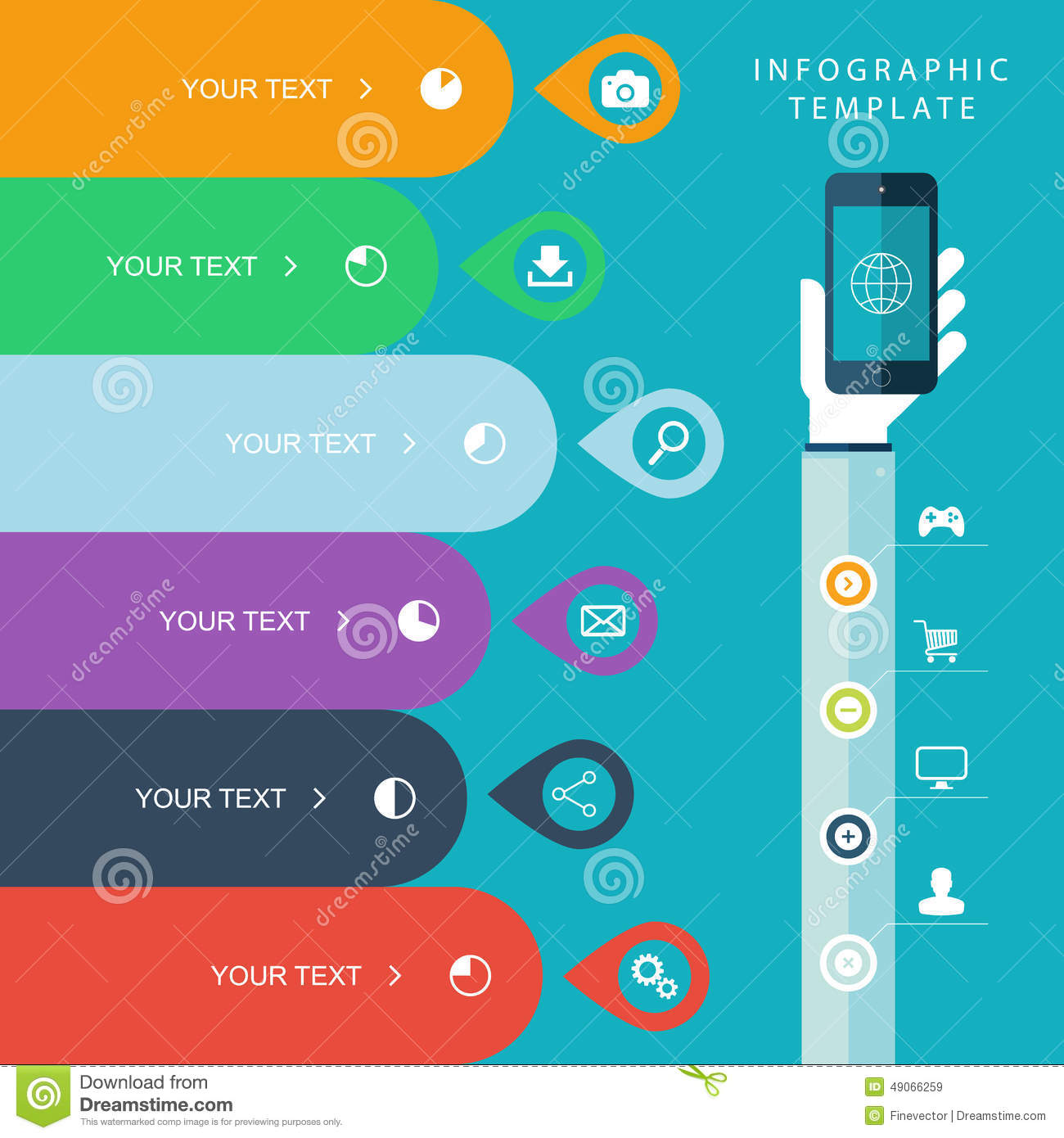 info graphic with hand phones for marketing plan