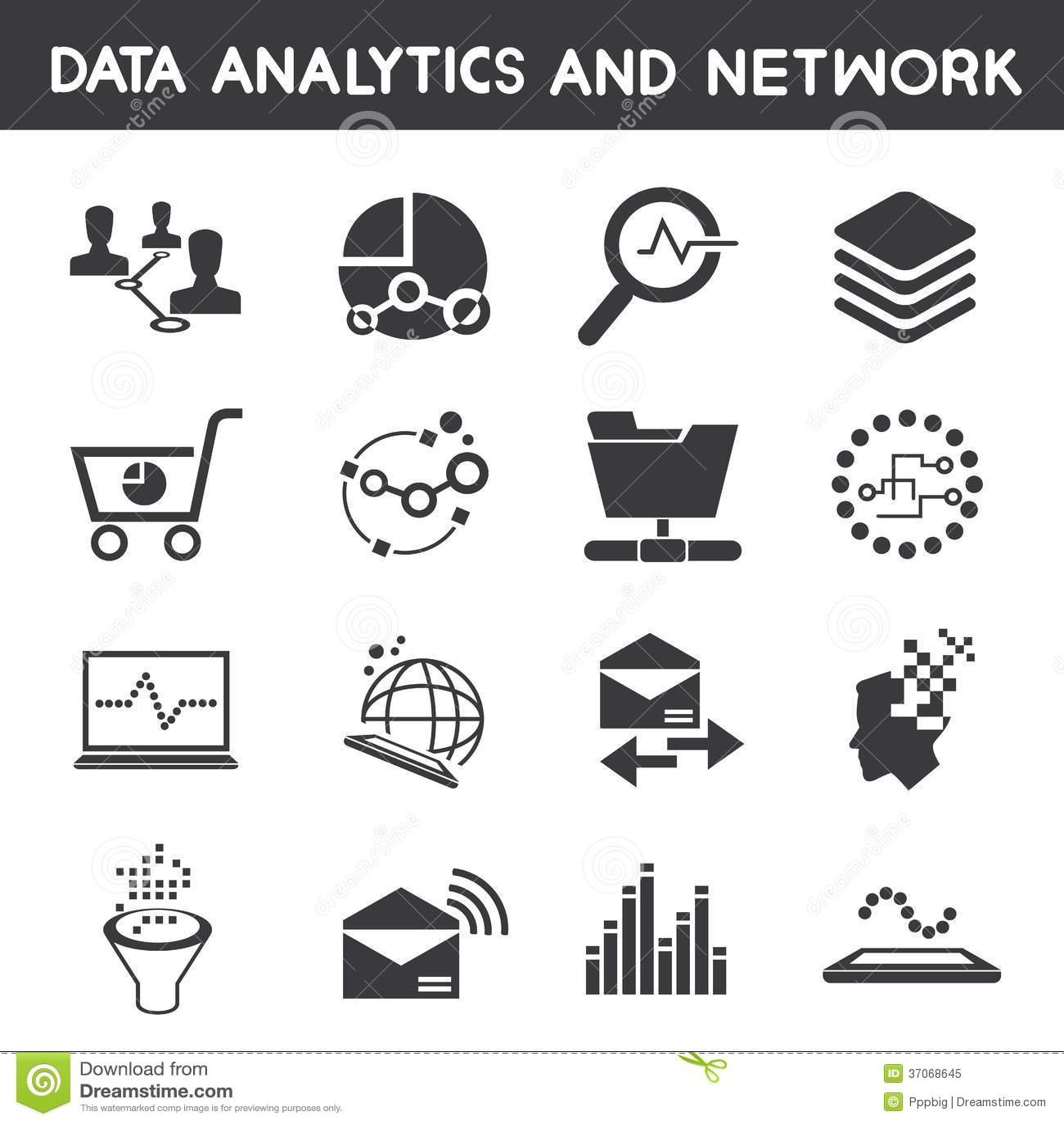 Info Management Dataytic Icons Royalty Free Stock