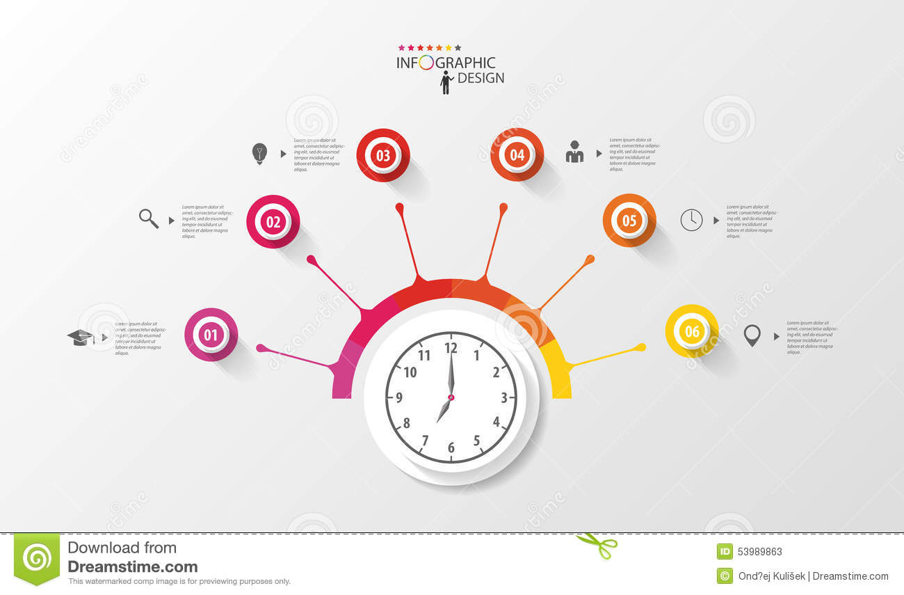 Infographic Circle With Clock Business Plan Template