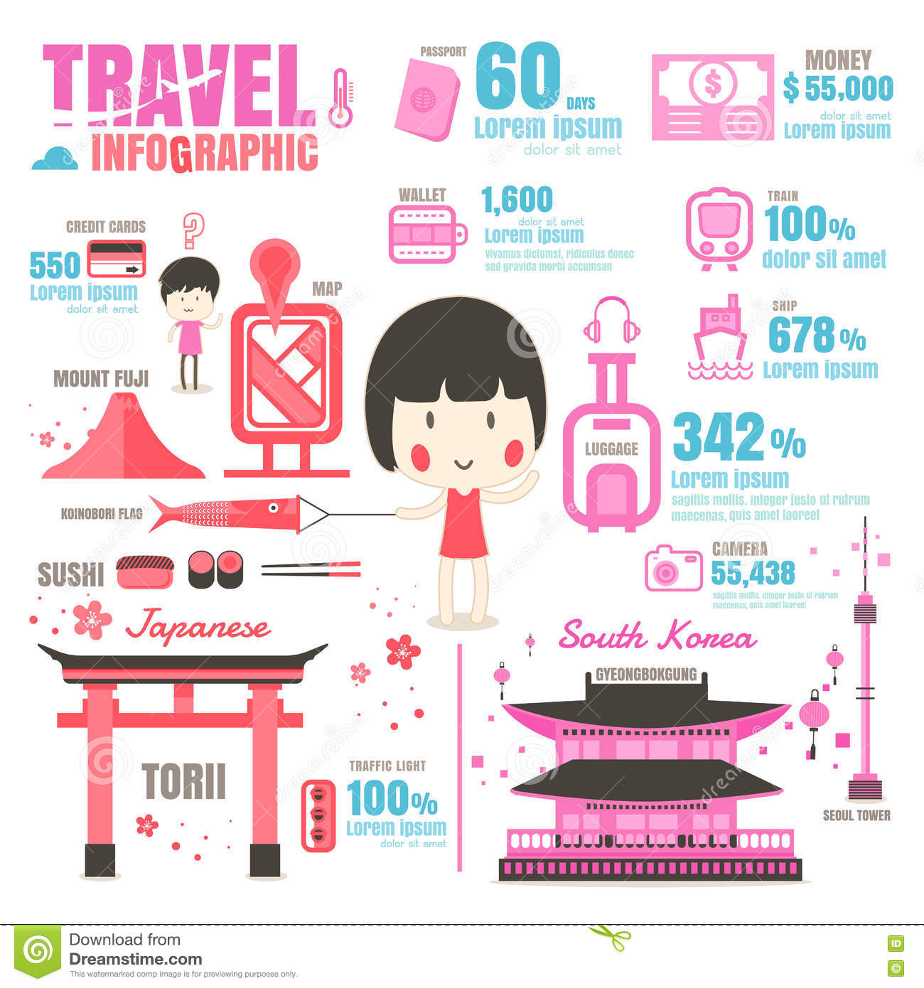 Infographic Japan South Korea On White Background