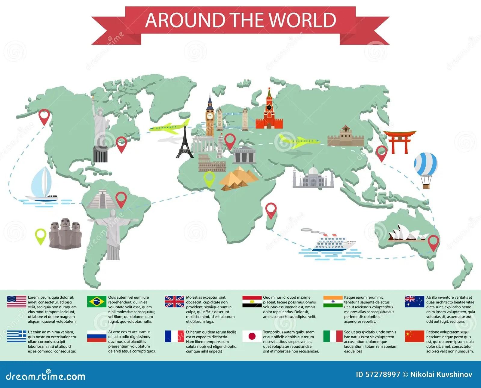 Infographic World Landmarks On Map Stock Vector