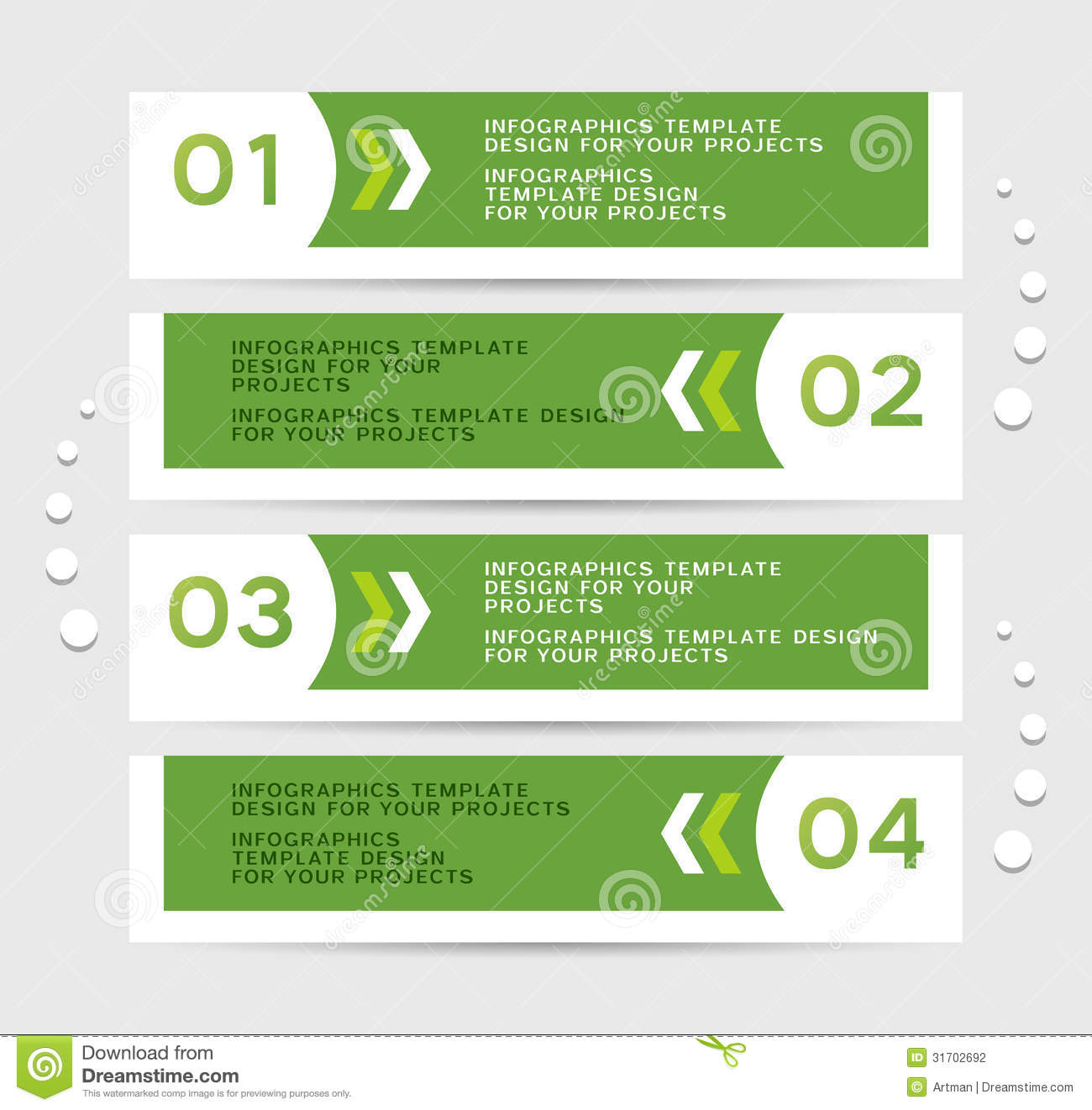 Infographics Design With Green Banners Stock Photography