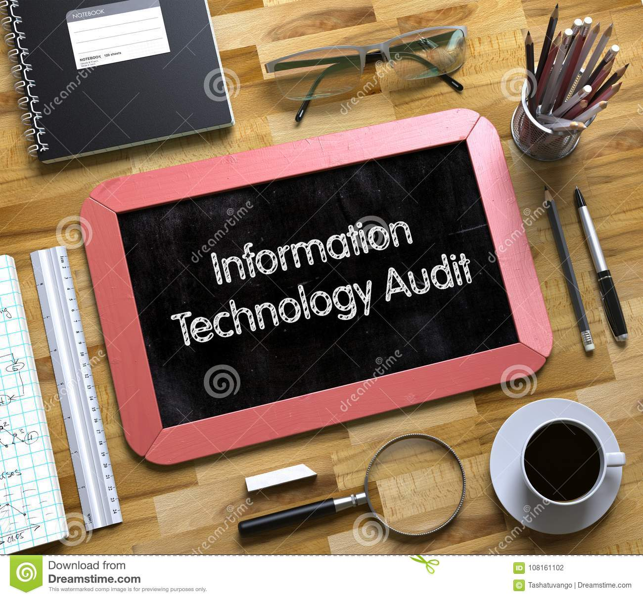 Information Technology Audit Concept On Small Chalkboard