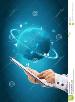 Information Technology Business Concept, Network Process Diagram Stock Illustration