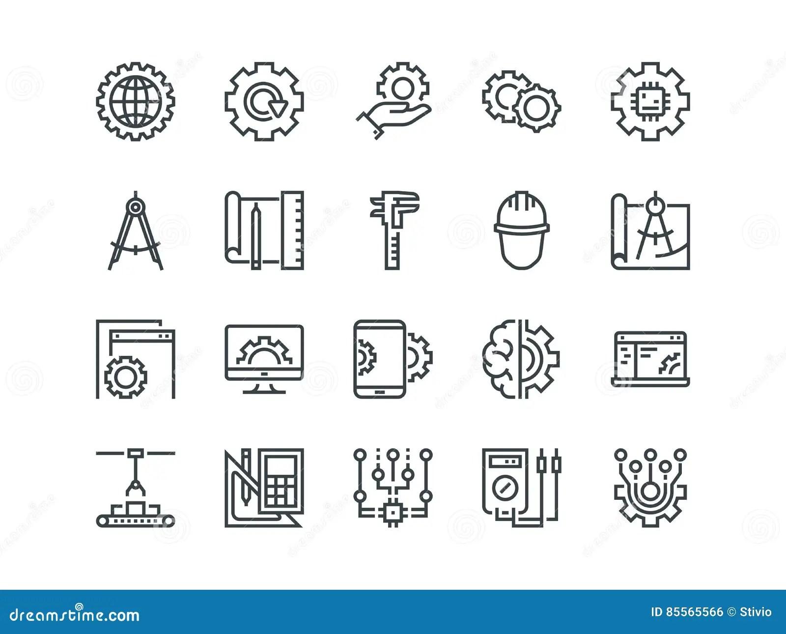 Ingenieria Sistema De Iconos Del Vector Del Esquema