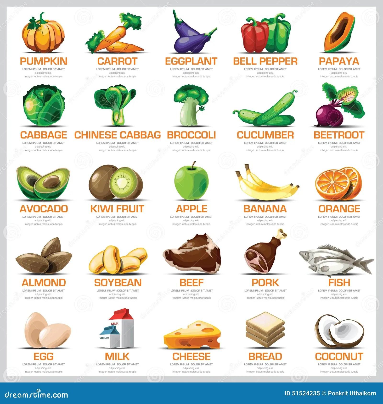 Ingre Nti Frutta E Carne Di Verdure Rassodate Icone Per