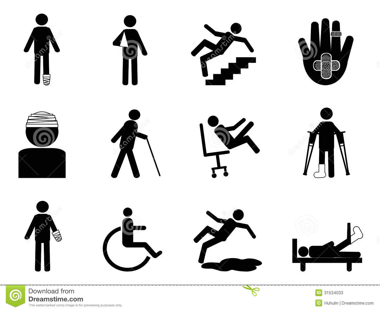 Injury Icons Set Stock Vector Image Of Disable Bandage