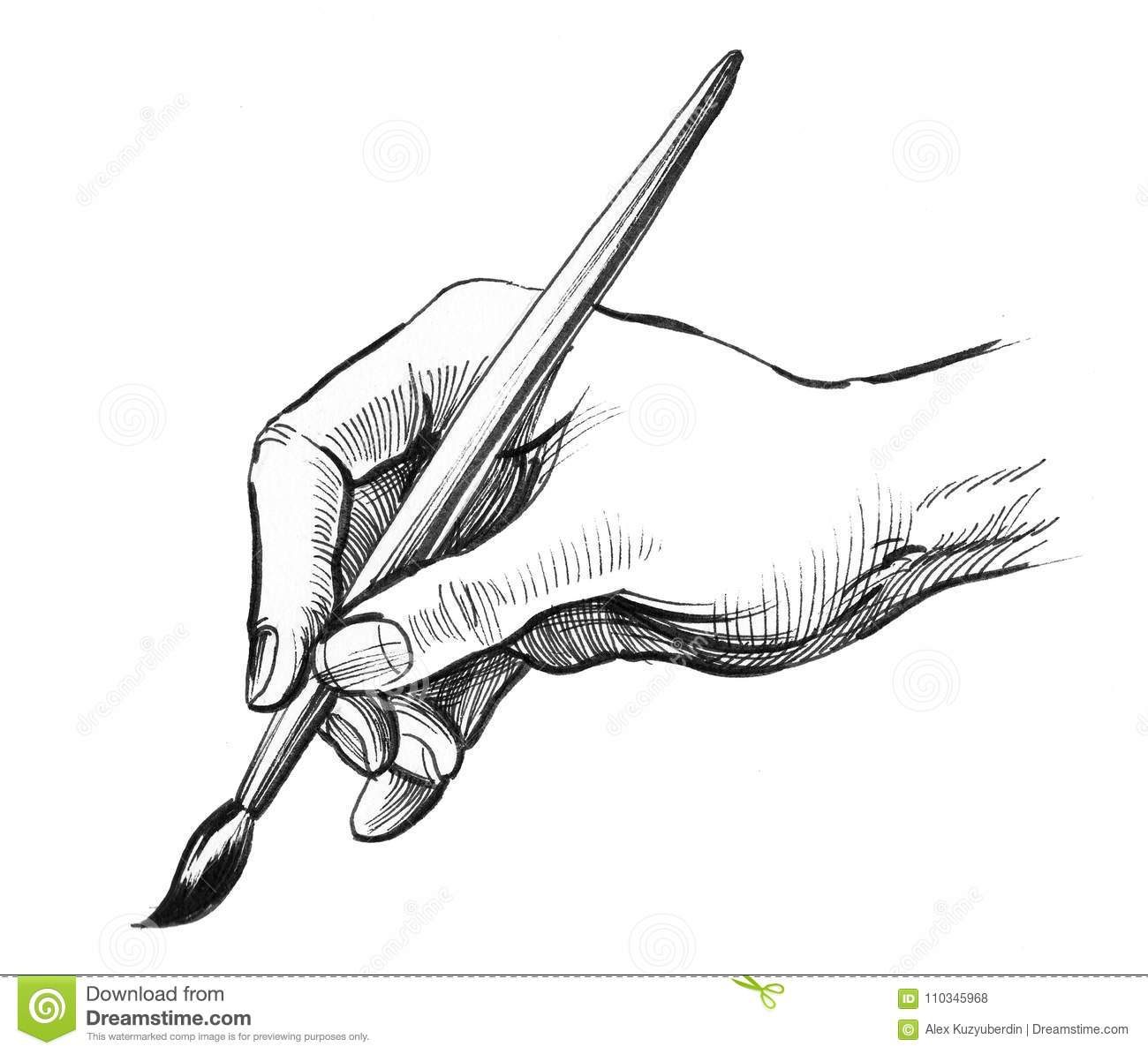 Hand Holding A Painting Brush Stock Illustration