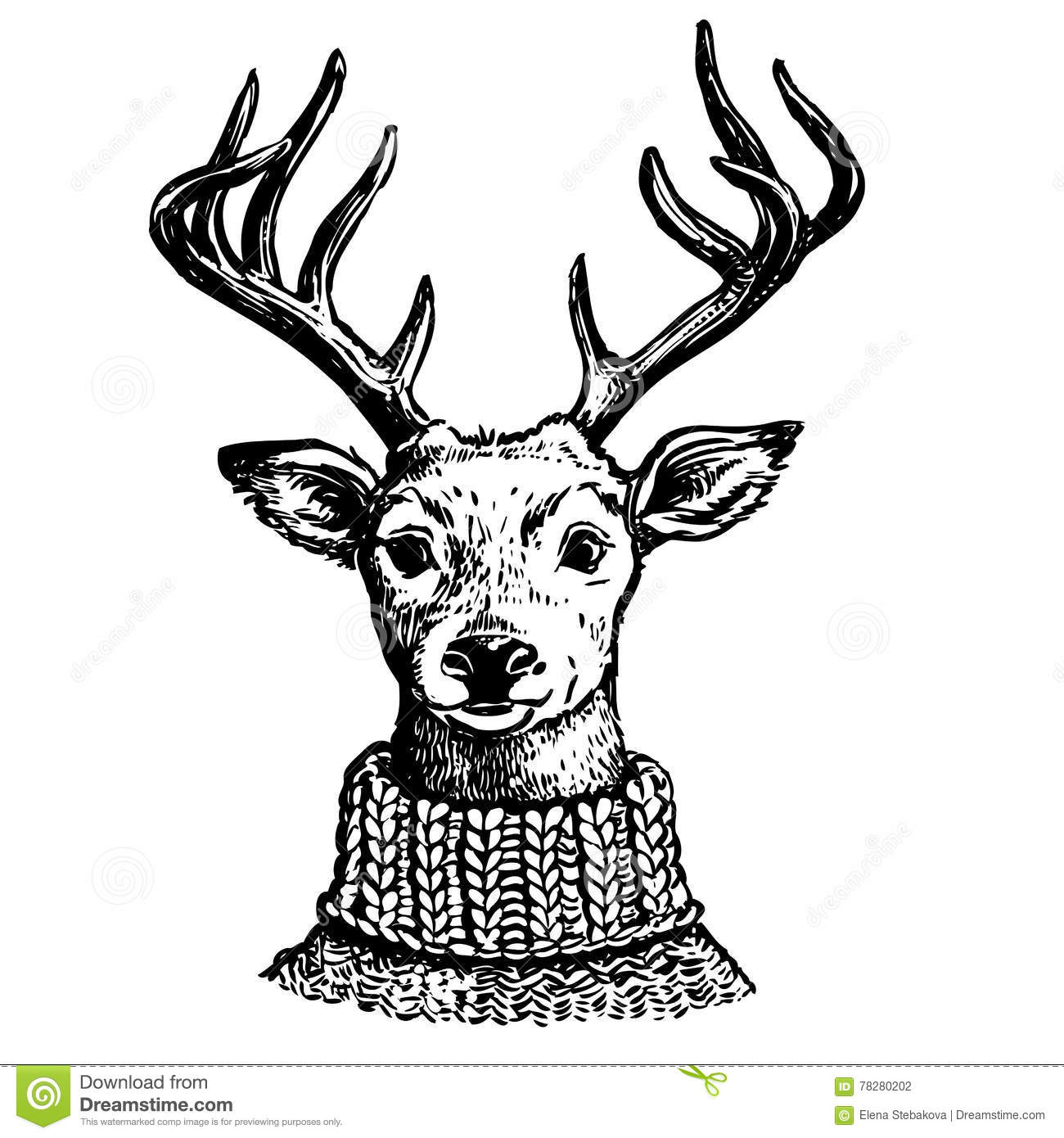 Ink Drawing Of Reindeer In Knit Sweater Stock Vector