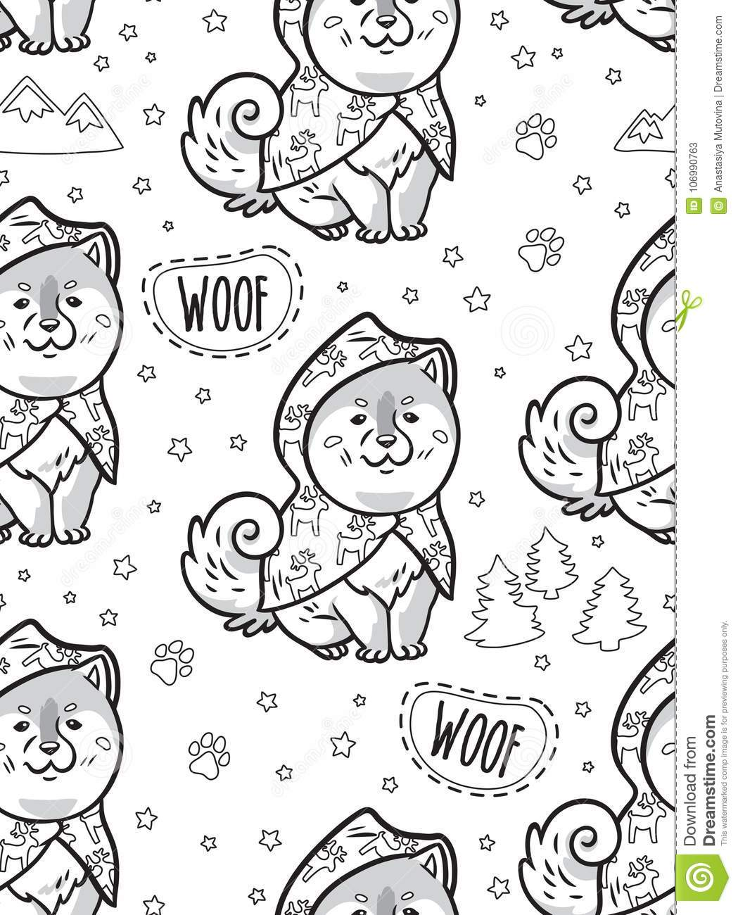Ink Husky Puppies In Raincoats Vector Endless Background