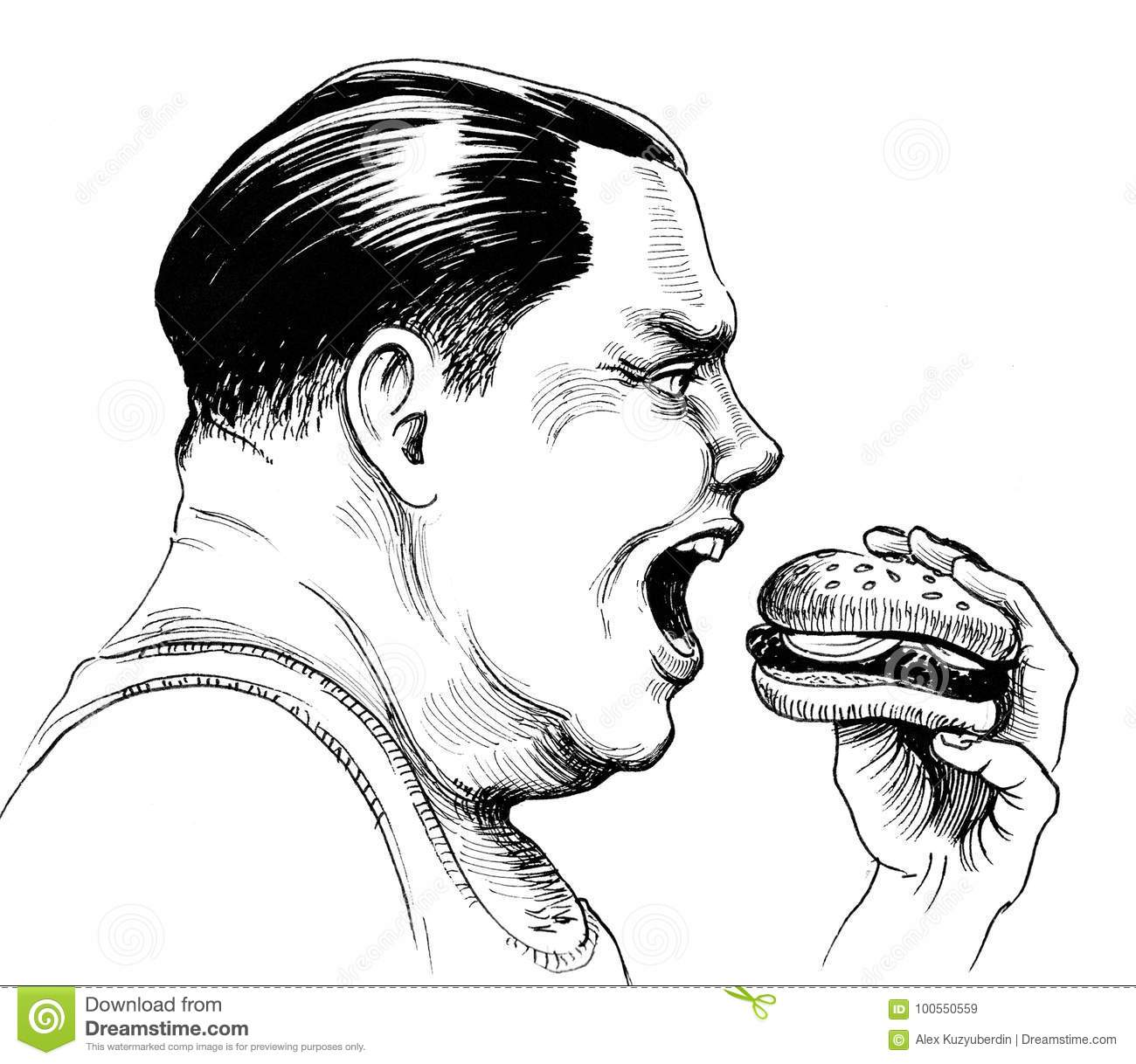 Fat Man Stock Illustration Illustration Of Eating
