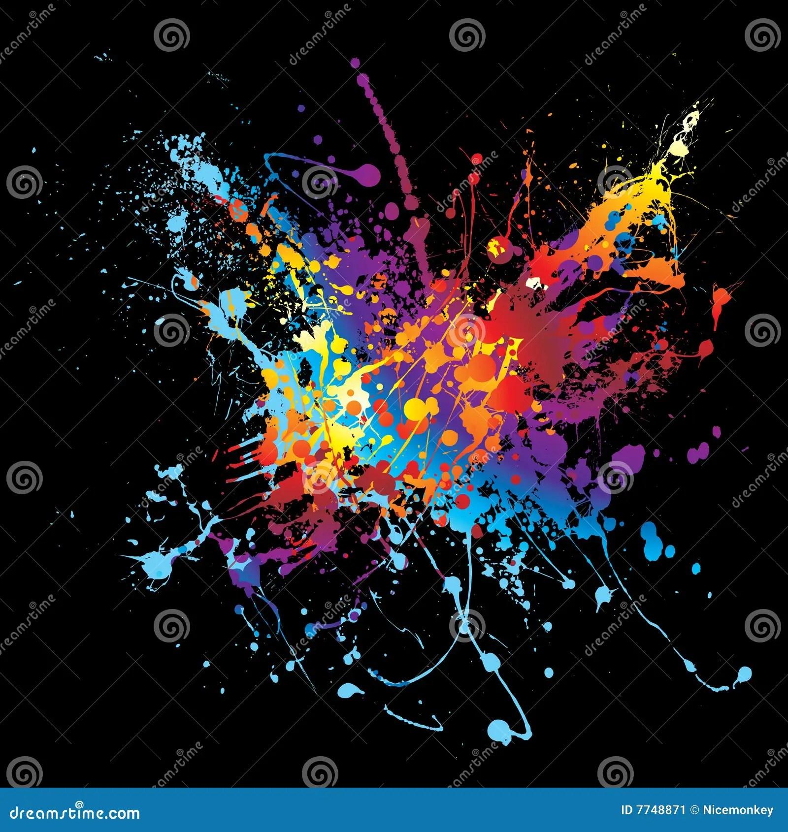 Ink Splatter Rainbow Black Stock Image Image 7748871