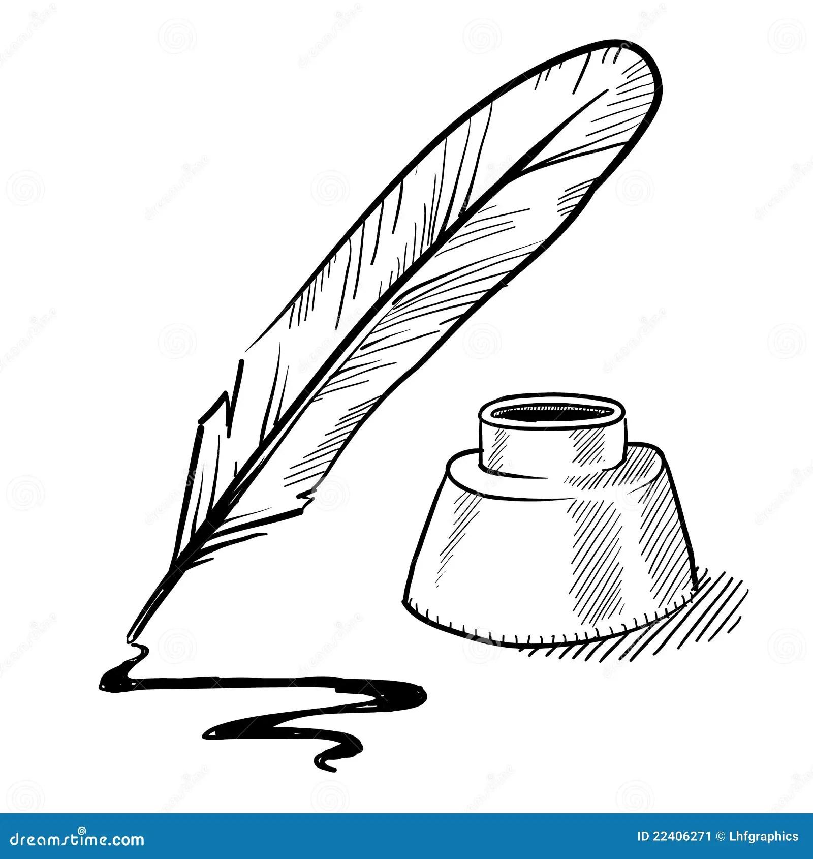 Inkwell Rysunkowy Piorkowy Pioro Ilustracja Wektor