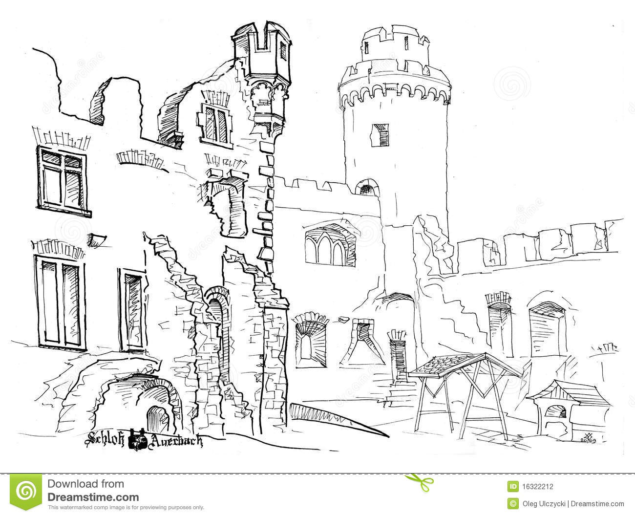 Inner Courtyard Castle Stock Photography