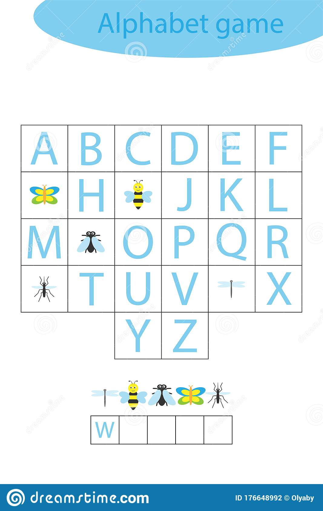 Insect Alphabet Game For Children Make A Word Preschool