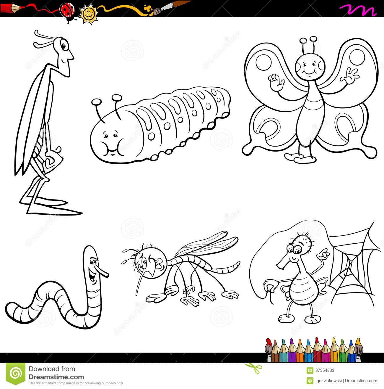 Insect Characters Coloring Page Stock Vector