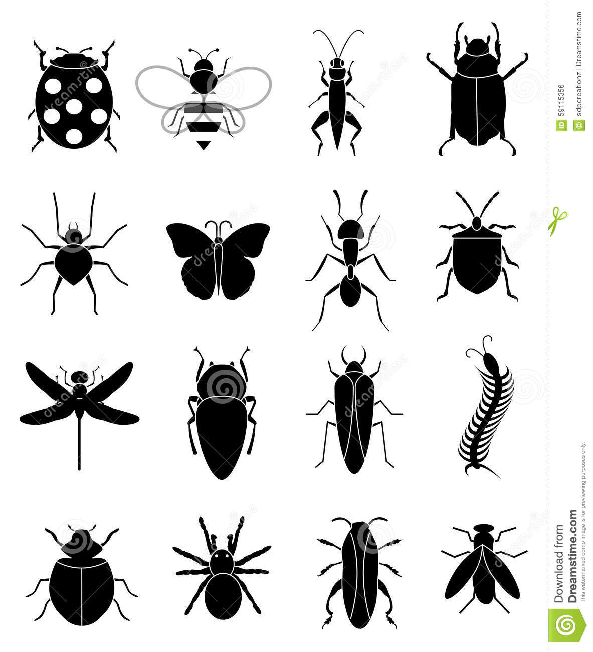 Insects Bugs Icons Set Stock Vector Illustration Of