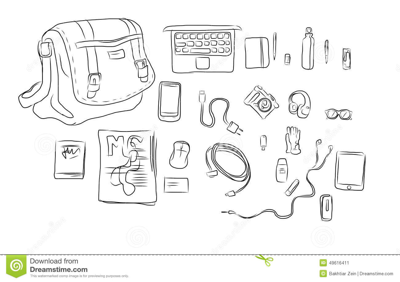 Inside Bag Hand Drawing Illustration Stock Photo