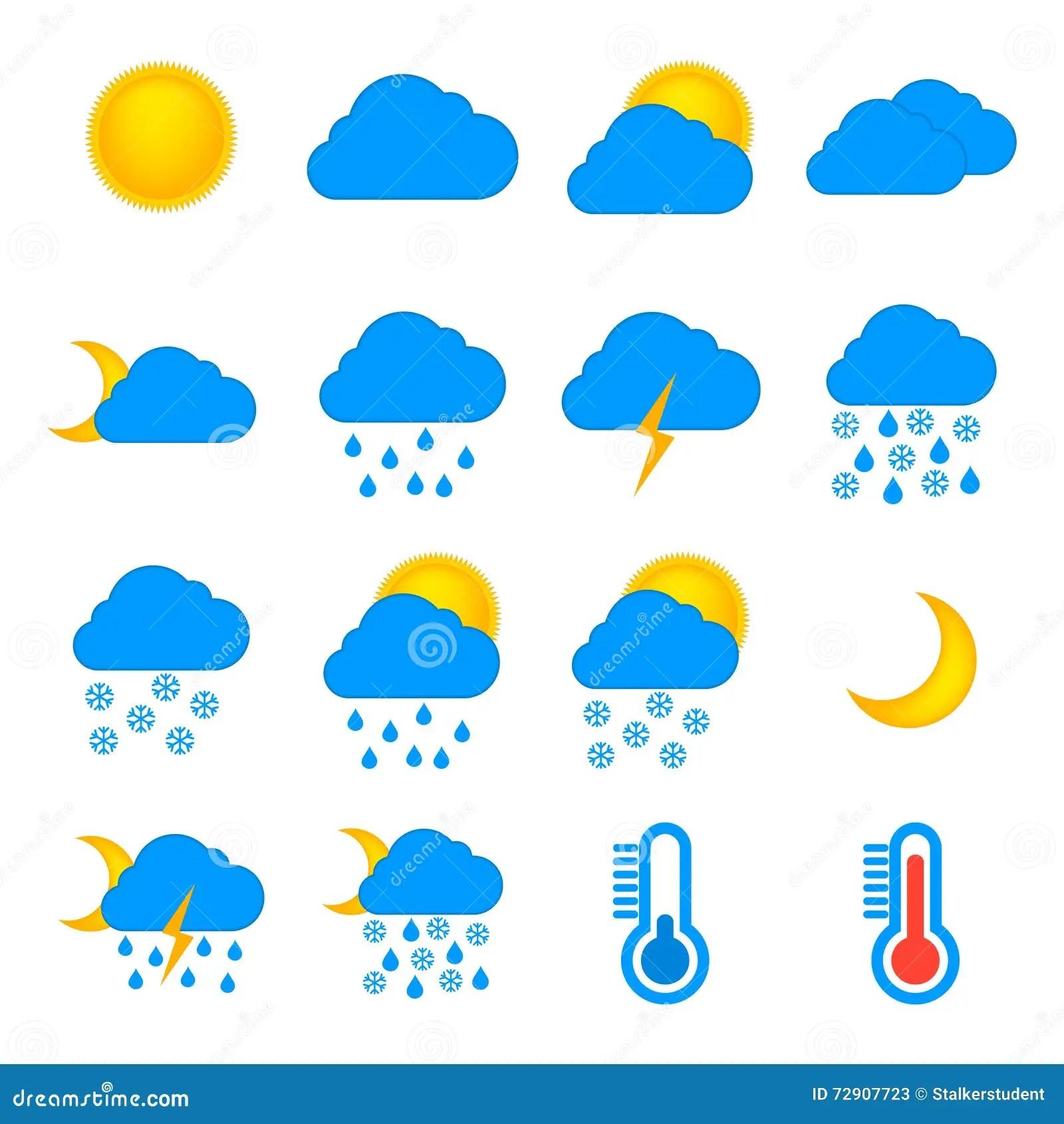 Insieme Del Piano Delle Icone Di Simboli Di Meteorologia E