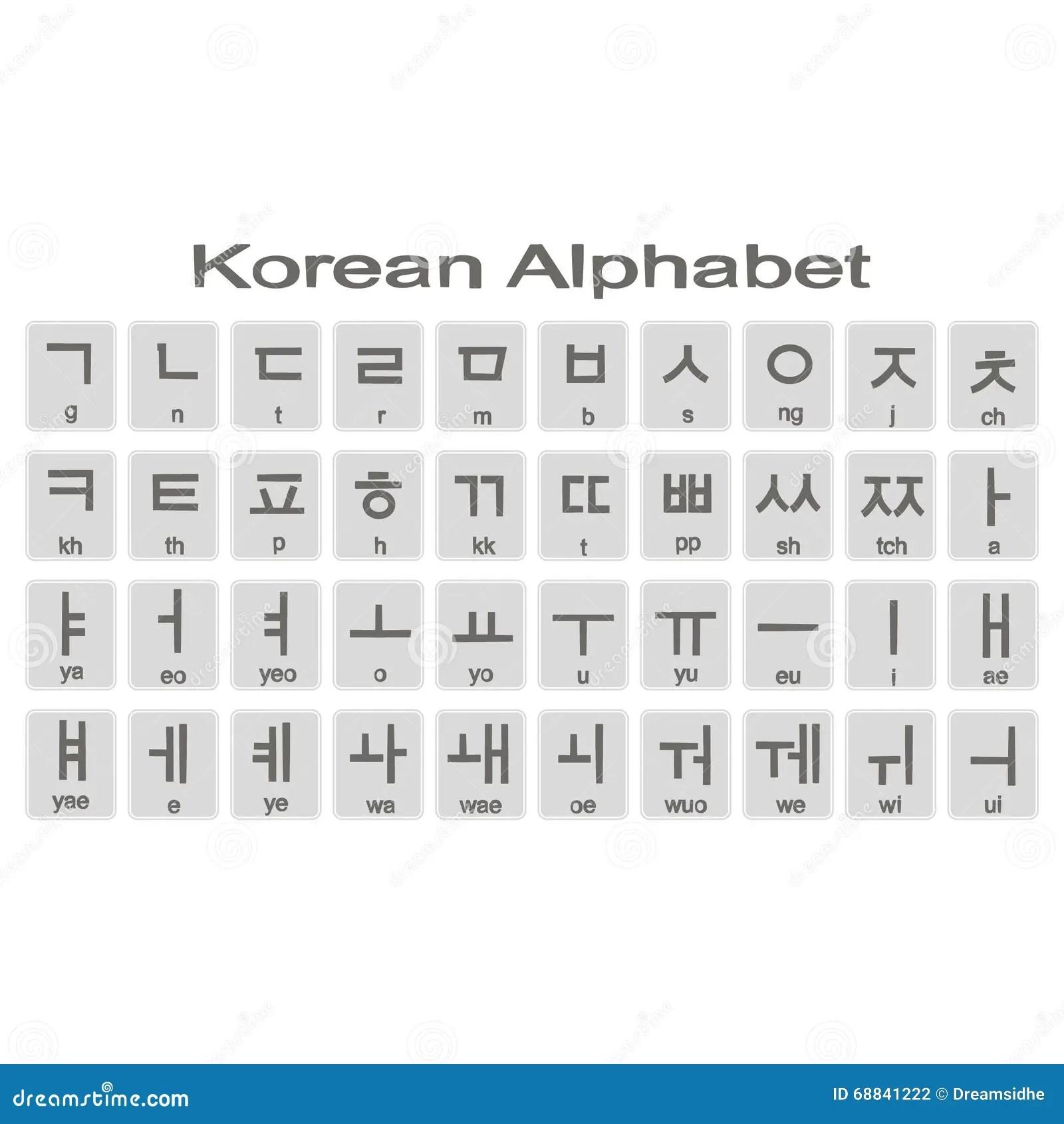 Insieme Delle Icone Monocromatiche Con L Alfabeto Coreano