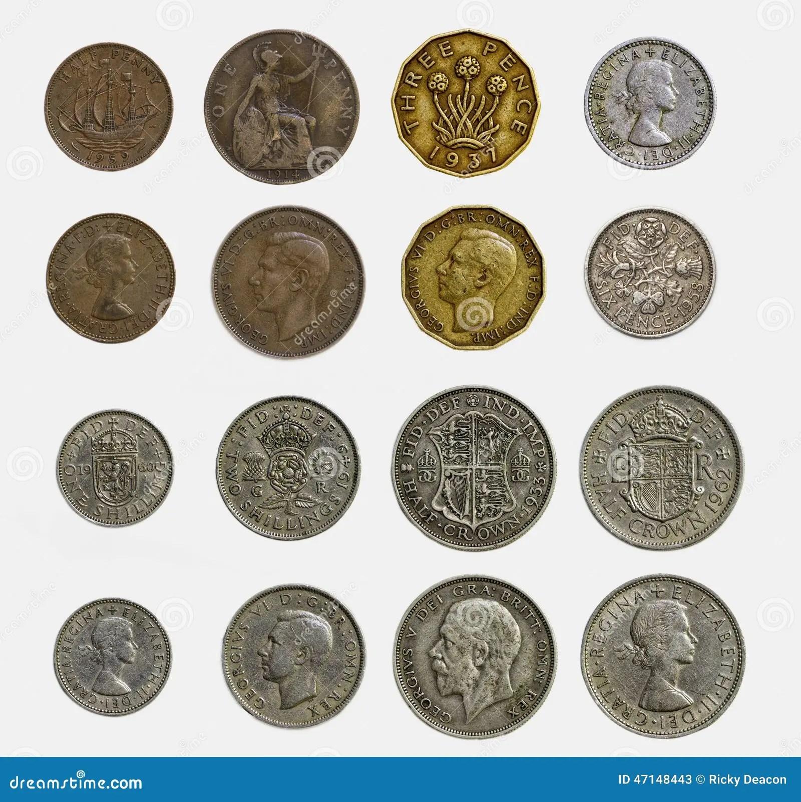 Insieme Isolato Delle Monete Inglesi Pre Decimali Alto E