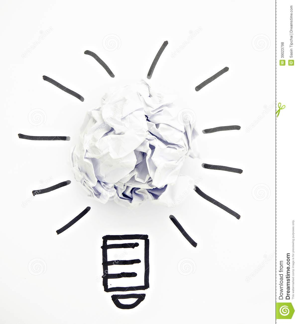 Inspiration Concept Crumpled Paper Light Stock Photo