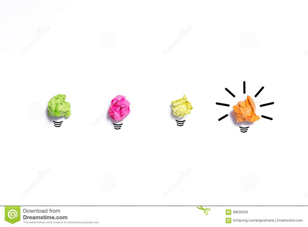 Inspiration Concept Crumpled Paper Light Bulb Metaphor For