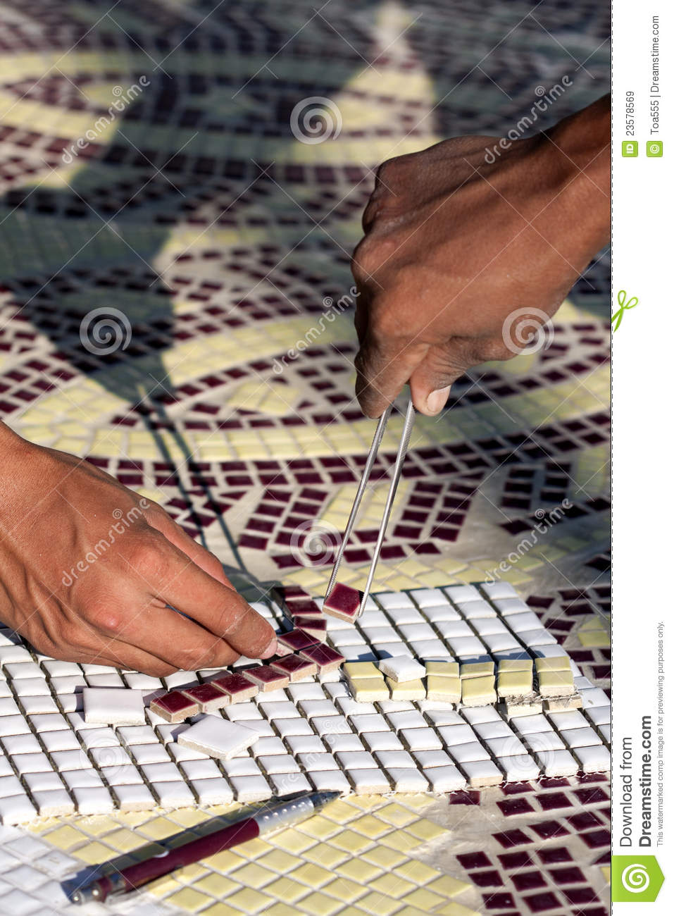 the installing mosaic ceramic tiles stock image image of tong installation 23578569