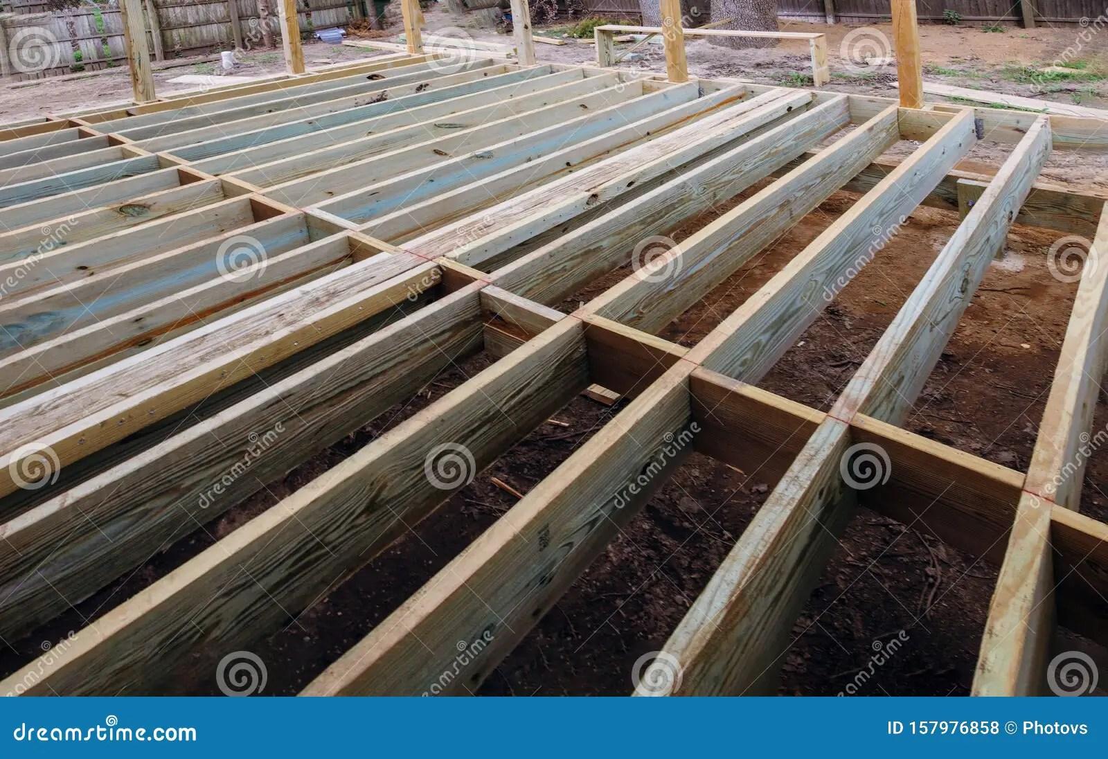 https www dreamstime com installing wood floor patio deck new wooden decking fragment planks porch floorboard installation woodwork terrace image157976858