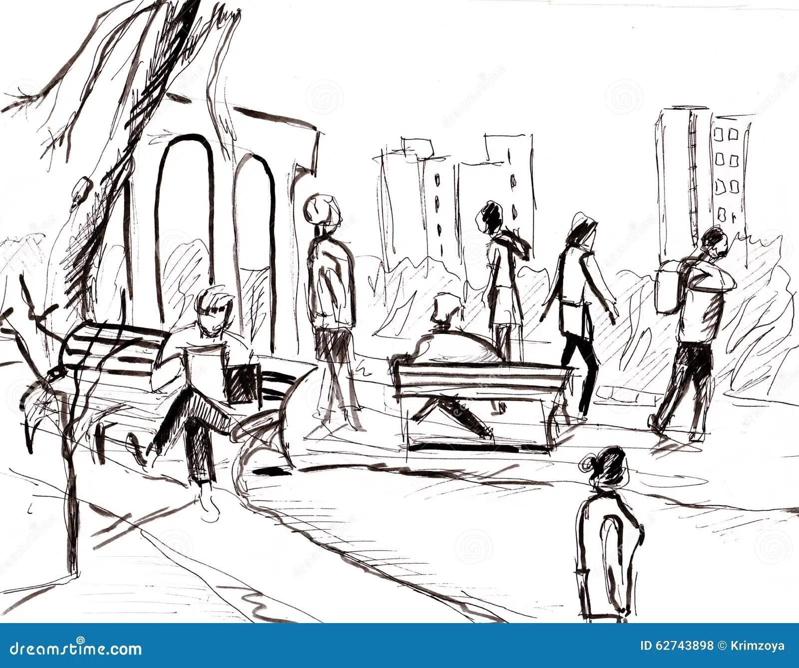 Instant Sketch People In Park Stock Illustration