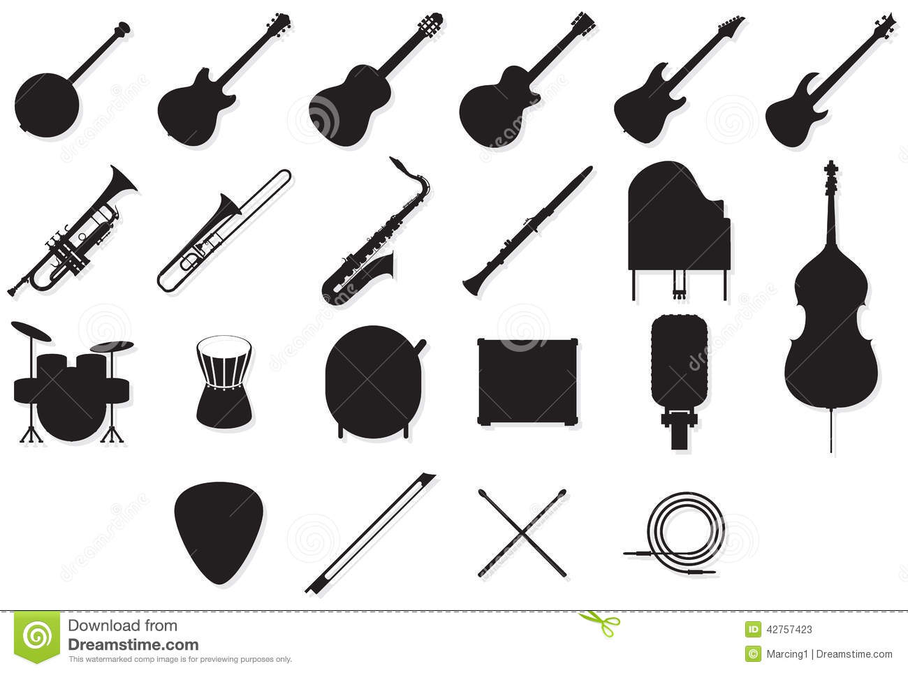 Instruments Outlines Set Stock Vector